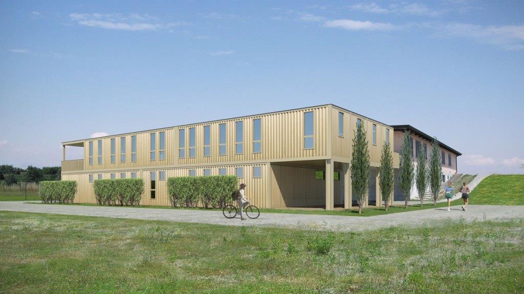 Casalgrande: prima struttura sportiva in container riciclati