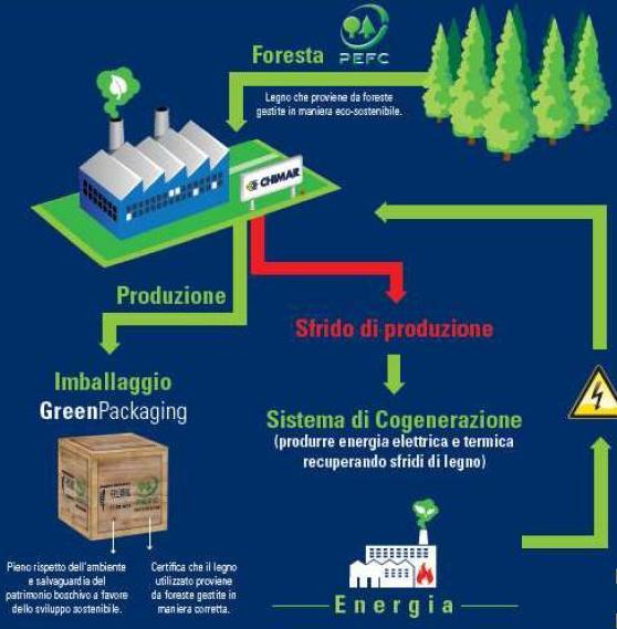 Chimar Imballaggi produce energia cogenerazione da sfridi legno e cartone