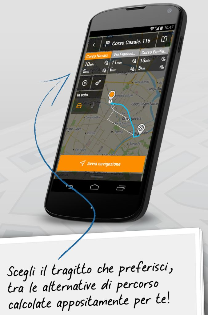 Lo smartphone navigatore GPS con app TurnByTurn da Seat PG