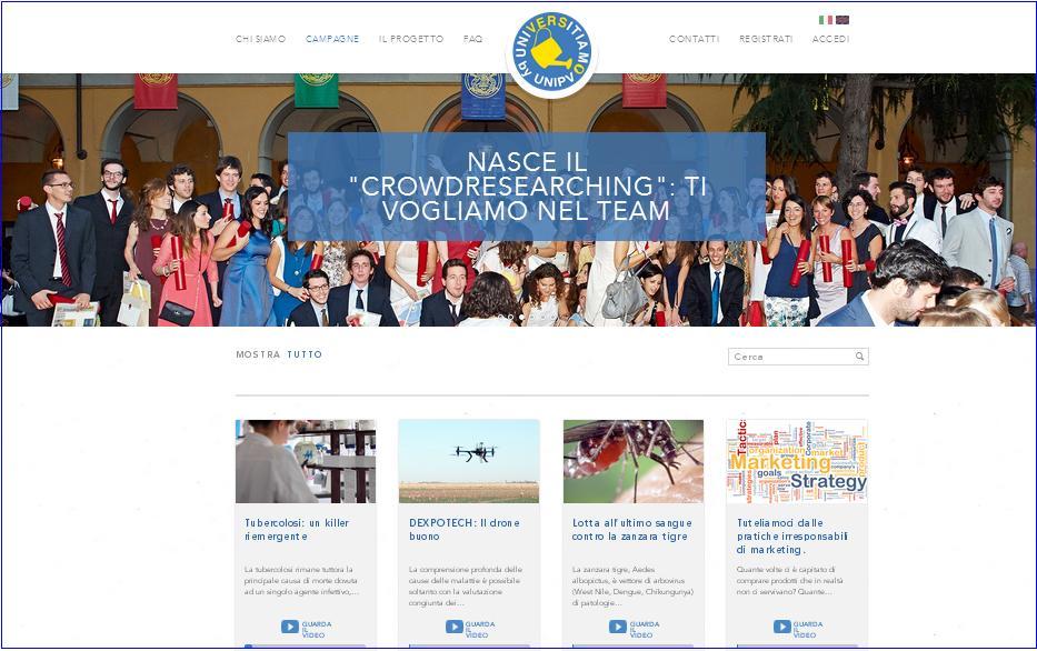 Portale Universitiamo by UNIPV: piattaforma di CrowdResearching